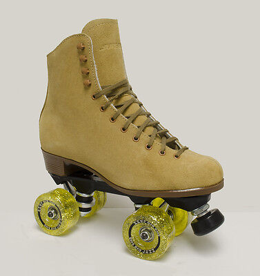 SURE GRIP VINTAGE TAN SUEDE INDOOR ROLLER SKATES - MEN'S SIZE 14 & MORE