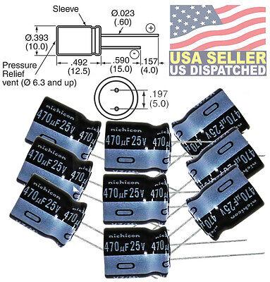Pack Of 12 Nichicon 25ut470 Uvz1e471mpd 470uf 25v Hi Temp Radial Capacitor