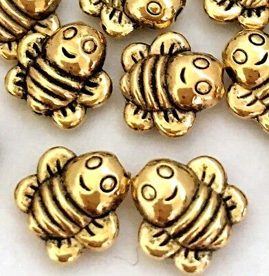 25 Antique Gold Pewter Honey Bee Happy Face Beads 8mm   Antique Gold Metal Bead
