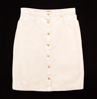 Vintage Gloria Vanderbilt Khaki Twill Button Front Skirt Womens Size 10 in Tan