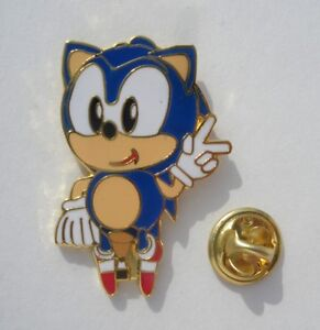 Sonic-the-Hedgehog-NICE-RARE-Promo-1-25-Enamel-Metal-PIN-BADGE-Pins-Pins-Sega