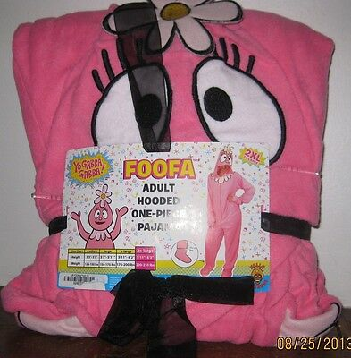 XL or 2XL YO GABBA GABBA! FOOFA Fleece Hooded Footed Pajamas Costume One Piece - Yo Gabba Costume