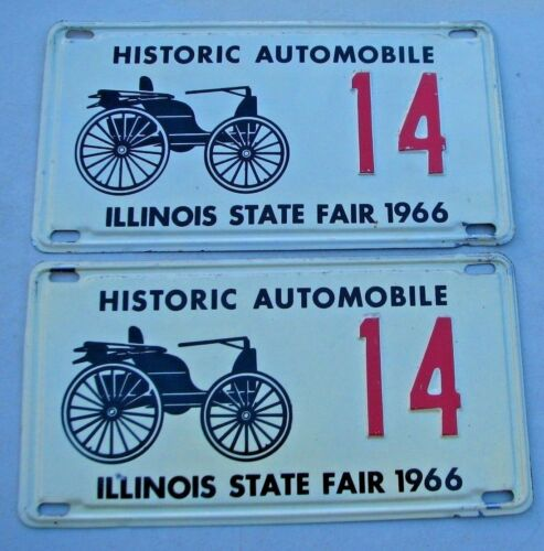 "ILLINOIS 1966 HISTORIC LOW  # AUTOMOBILE ANTIQUE LICENSE PLATE "" 14 "" IL 66 PAIR"