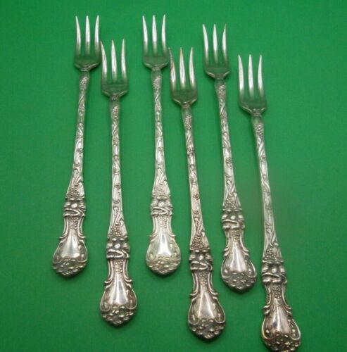 6 Seafood  Forks - 1835 R WALLACE  Floral (?)