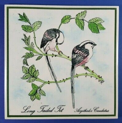 SPLENDID VINTAGE ART POTTERY CERAMIC TILE - LONG TAILED TIT BIRDS