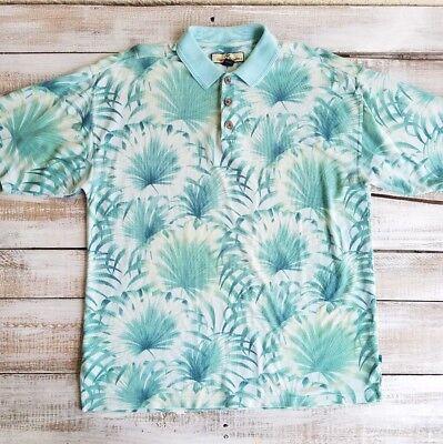 Tommy Bahama men top size M silk cotton collared polo t-shirt hawaian blue white - Hawaian Shirt