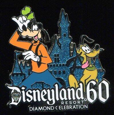 Diamond Celebration 60th Jeweled Glitter Goofy & Pluto Disney Pin 108444