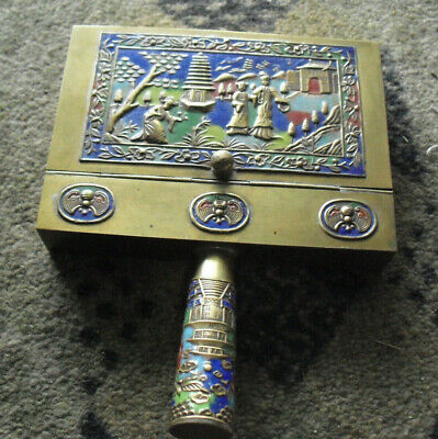 Antique Enameled Brass China Theme Silent Butler