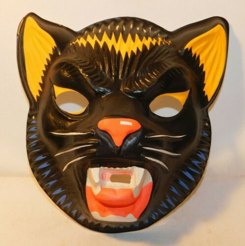 RARE old Ferocious Black Cat Tiger Panther Halloween Mask