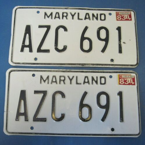 1983 Maryland License Plates matched pair