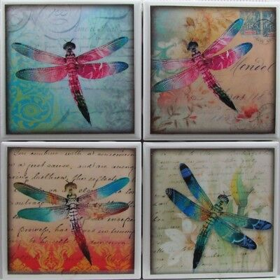 - Set of 4 - Natural Stone Ceramic Tile Marble Drink Coasters  - Dragonfly's 2 F