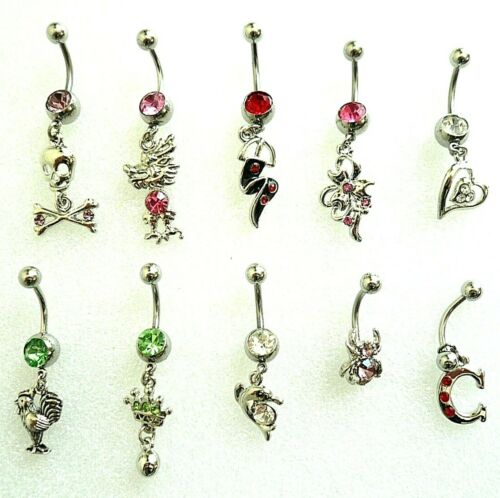 Hurry -10 Artistic Curved Belly Button Dangle Rings - 14g & 316L Surgical Steel