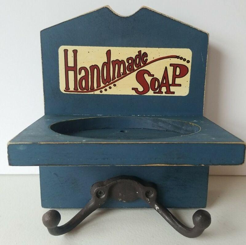 "Handmade Soap And Towel Holder Hook 7.50"" L X 6.25"" W Blue Rustic"