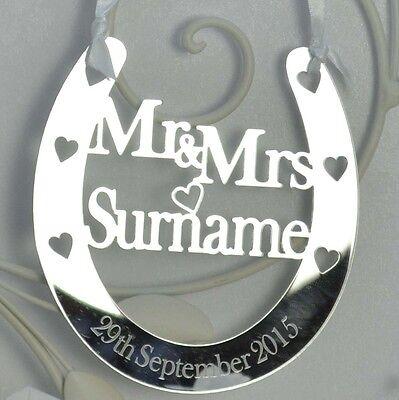 Personalised Wedding Mr & Mrs Good Luck Horseshoe Bridal Gift and lucky Keepsake