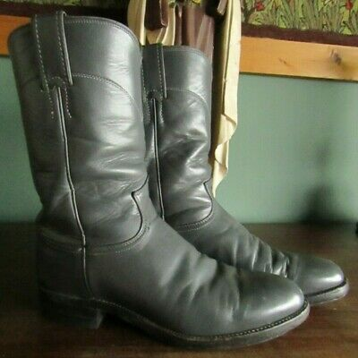 Vintage Unisex Grey Leather Justin Low Heel Cowboy Boots Men's US 6.5 / UK 6
