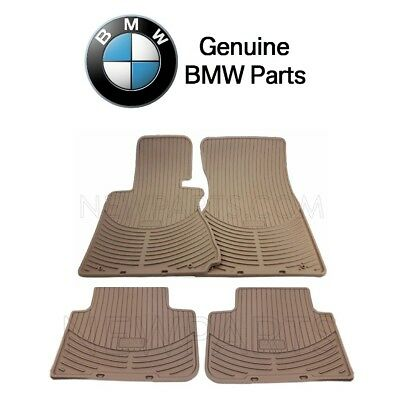 For BMW E65 E66 745i 760Li Set of Front & Rear Rubber Beige Floor Mats Genuine Bmw 2002 Rubber