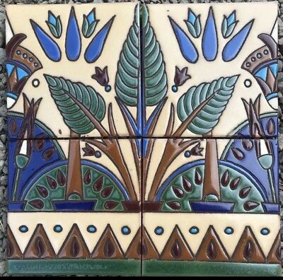 Egyptian Revival Decorative 12x12 Hand-Painted Tile Repeating Border.