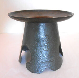 LARGE ANTIQUE JAPANESE IKEBANA IKENOBO IRON USUBATA FLOWER VASE -SIGNED