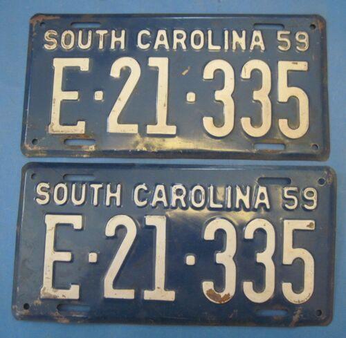 1959 South Carolina license plates matched pair