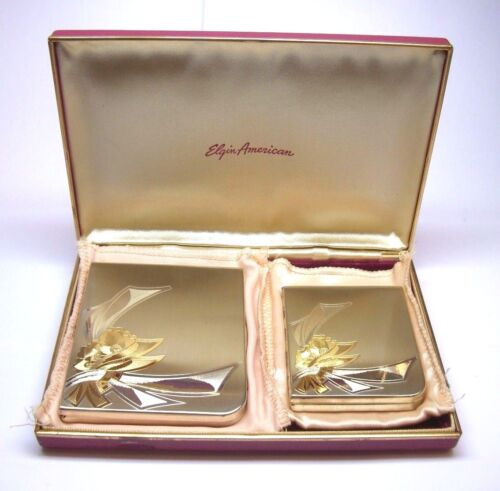 ELGIN AMERICAN STERLING SILVER 925 CIGARETTE & COSMETIC CASE W/ YELLOW ACCENTS