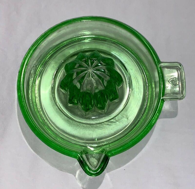 Green Federal Depression Vaseline Glass Juicer Reamer