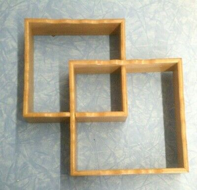 Vintage Mid Century Modern Squared Wooden Wall Shelf 10 3/4
