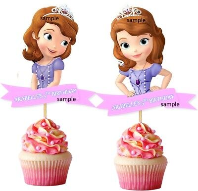 Set of 12 PERSONALIZED SOFIA THE FIRST CUPCAKE PICKS Toppers DIE CUTS