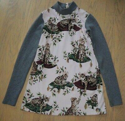 Dolce & Gabbana Bengal cat,roses print dress,gray long sleeves, girls size 11-12