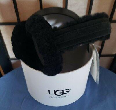 NEW NWT Ugg Earmuffs Black Cute U Over Ear Warmers Winter Wired Headset Fuzzy