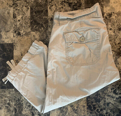 Womens Gap Beige Clam Digger Surplus Size 4 Pants Pockets Belt Loops High Rise