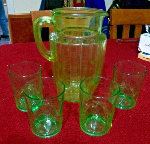 RARE Beautiful Green Depression Pitcher & 4 Glasses -  Glasses are a Different