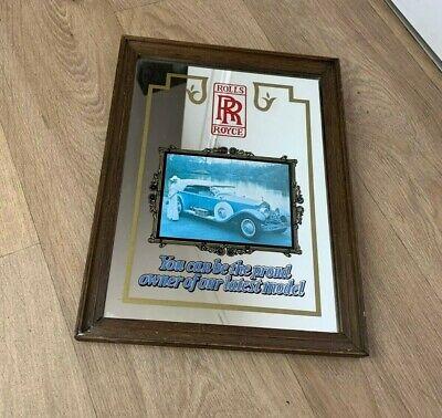 Vintage Rolls Royce Car Wood Framed Advertising Mirror Man Cave Breweriana Pub