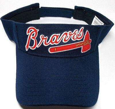 d008974b64f Atlanta Braves Handcrafted FLAT LOGO on Navy Blue visor cap hat!