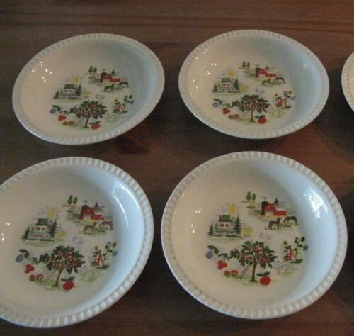 Set of 4 Salem China Harmony House FARMER IN THE DELL Soup Bowls Sears 1952