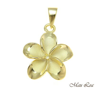 925 Silver Yellow Gold Hawaiian Plumeria Flower No CZ Stone Pendant 10-25mm](Silver Rock)