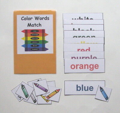 Teacher Made Center Educational Learning Resource Game Color Words (Color Word Match)