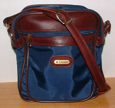 Samsonite Luggage Small Carry-On Navy Blue Nylon w/Brown Shoulder Travel Bag