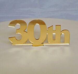 30th-Cake-Topper-Gold-3mm-Acrylic-Mirror-Sizes-6cm-or-10cm