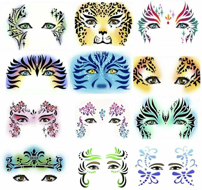 Face Paint Stencils by Pixiss 13 Pack Kit Large Reusable Face Painting...