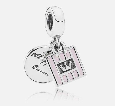 Authentic Pandora Sterling Silver 791985EN40 Shopping Queen Dangle Charm