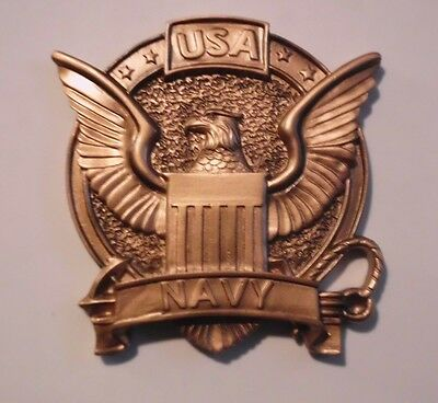 USA UNITED STATES NAVY  BRONZE RESIN EMBLEM LOGO RELIEF MOUNT ATTACHMENT