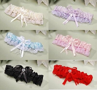 NEW WEDDING OR PROM GARTER 6 ASSORTED COLORS SEXY LACE TRIM Bow w/Heart ShipFree