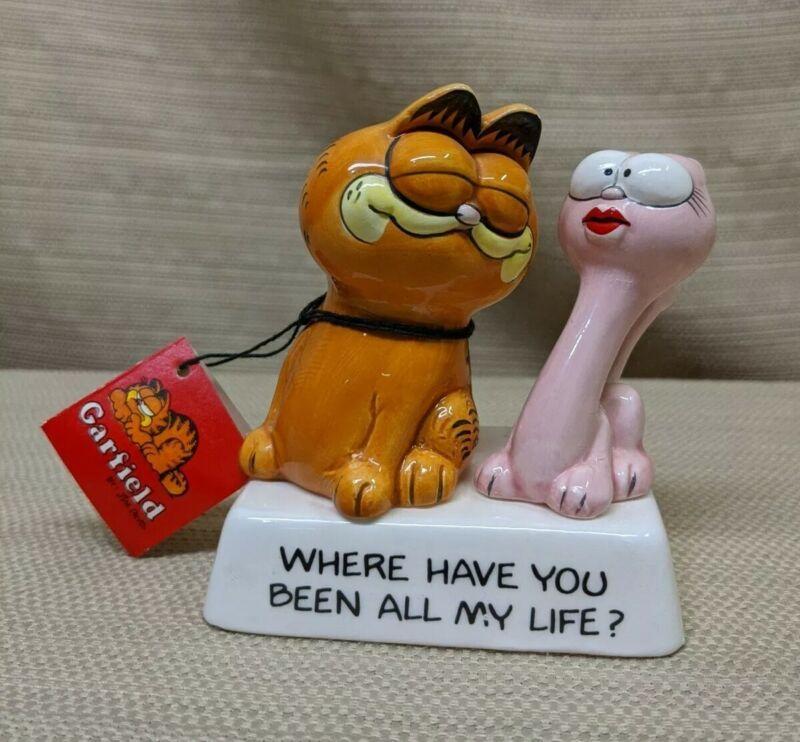 "Rare Vintage Enesco Garfield & Arlene Figurine ""Where Have You Been"" w/ Tag HTF"