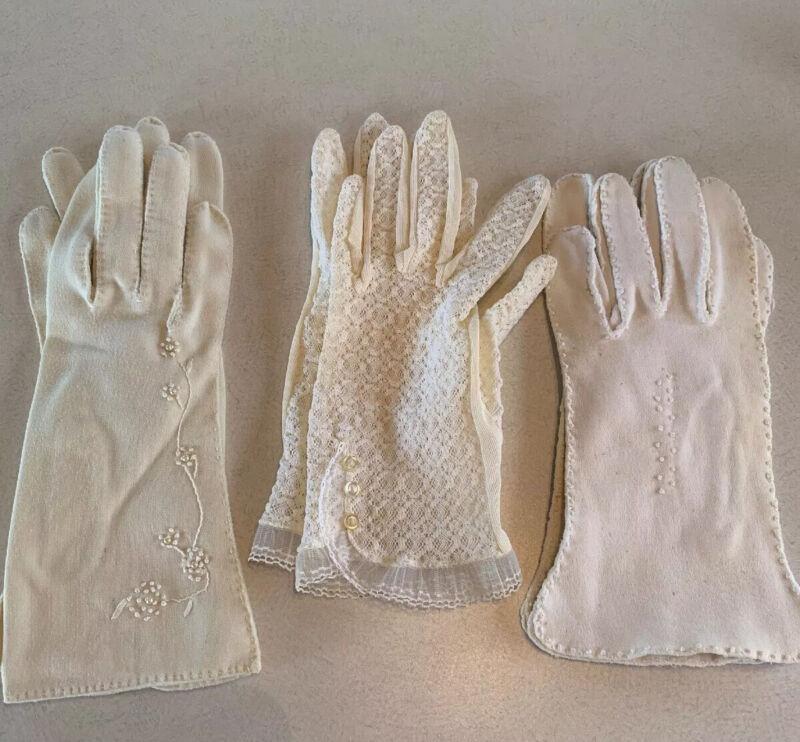 Vintage Lace &  Nylon Glove Lot 3 Pairs