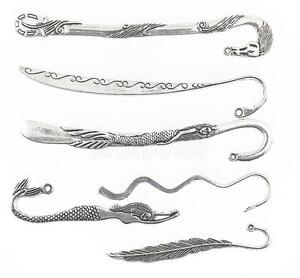 Wholesale 6pcs Tibetan Silver Mixed Style Mermaid/Feather Charm Bookmarks
