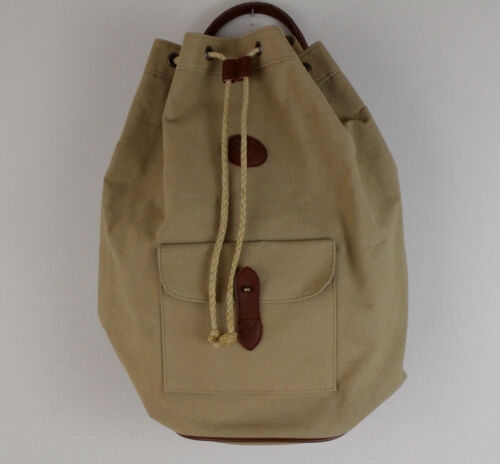 Vintage Ralph Lauren Canvas Drawstring Bucket Bag Tan Sling