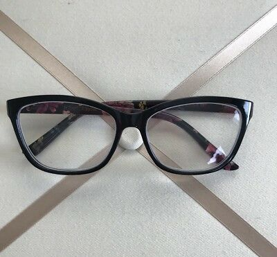 NEW Betsey Johnson Reading Glasses +2.50 Black/Flower Readers.