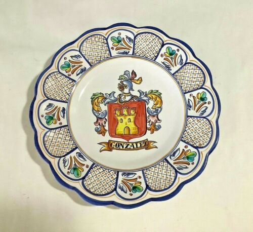 """Vtg """"GONZALEZ"""" Family Armorial Coat of Arms Crest Talavera Spain 12"""" Wall Plate"""