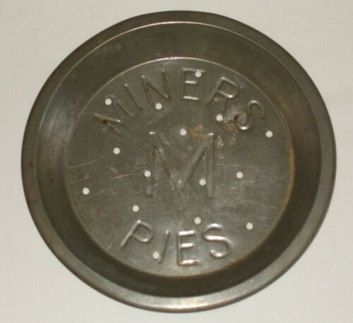 """Vintage RARE Miners M Pies 9"""" Tin Pie Pan Plate NICE"""