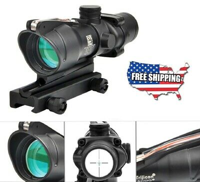 Hunting Riflescope ACOG 4X32 Fiber Optics Green Dot Illuminated Chevron Glass
